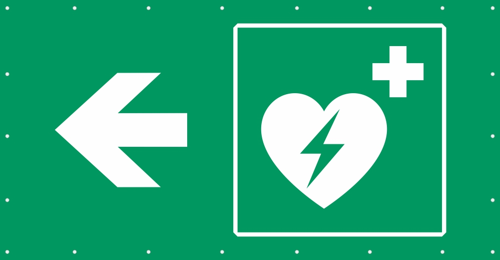 Bauzaunplane Safety - Defibrillator links